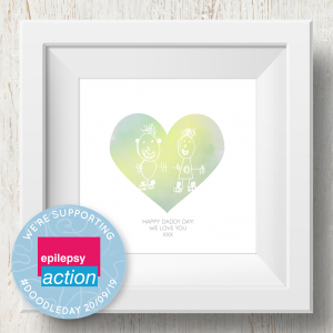 Personalised 'Doodle Artwork' Print - Heart Design In Yellow/Green