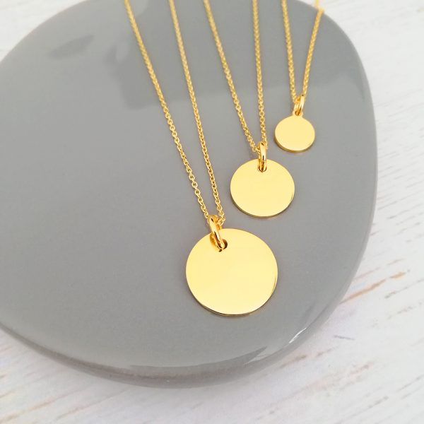 Yellow Gold Disc Necklaces All Sizes