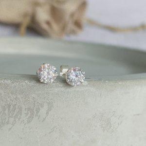 Sterling Silver & CZ Crystal Stud Earrings