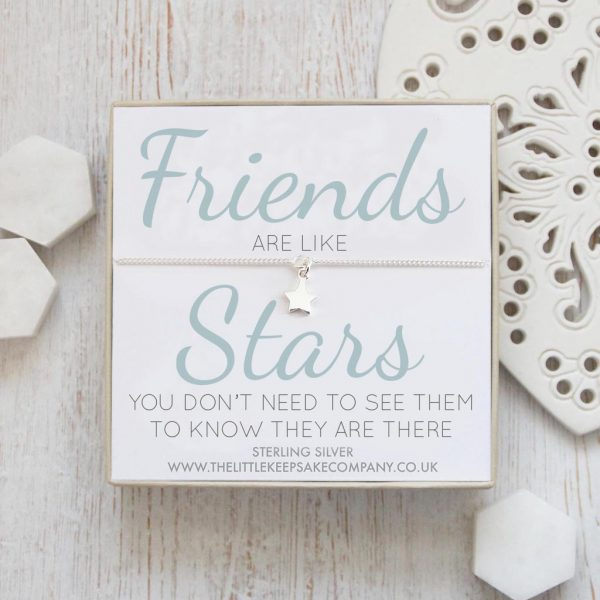 Sterling Silver Curb Chain Star Bracelet - 'Friends Are Like Stars'