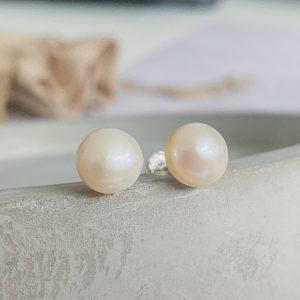 Sterling Silver & Pearl Stud Earrings