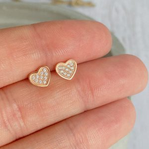 Rose Gold & CZ Pave Heart Earrings