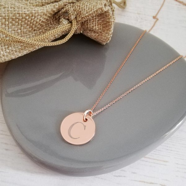 Rose Gold Vermeil Engraved Monogram Coin Necklace