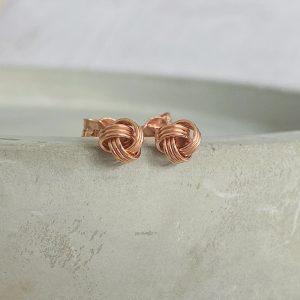 Rose Gold Knot Stud Earrings