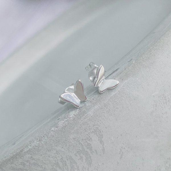Silver Butterfly Stud Earrings