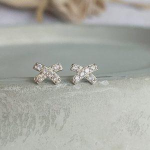 Sterling Silver & CX Kiss Stud Earrings