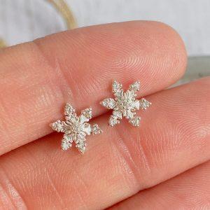 Silver & CZ Snowflake Stud Earring