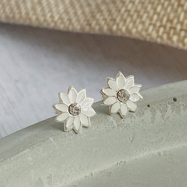 Sterling Silver, Enamel & CZ Flower Stud Earrings