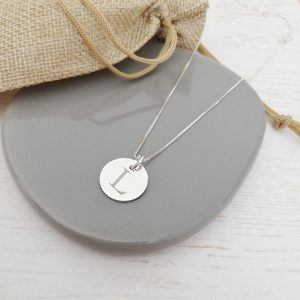Sterling Silver Engraved Monogram Coin Necklace