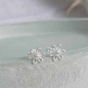 Silver Cutout Flower Stud Earring