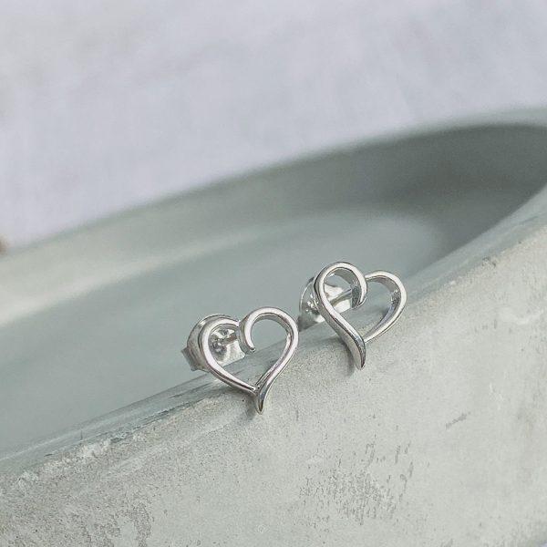 Silver Cut Out Heart Stud Earring
