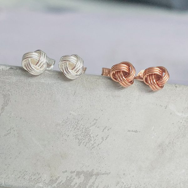 Silver And Rose Gold Knot Stud Earrings