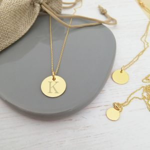 Yellow Gold Vermeil Engraved Monogram Coin Necklace