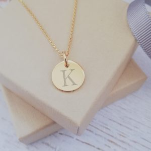 Yellow Gold Vermeil Engraved Mini Coin Necklace