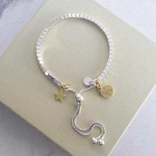 Sterling Silver Box Slider Bracelet - Yellow Gold Dinky Star