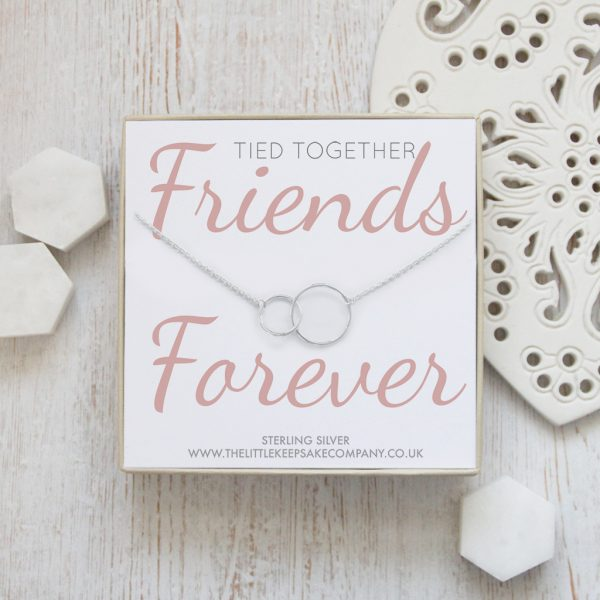 Sterling Silver Quote Necklace - 'Tied Together, Friends Forever'