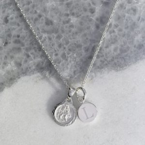 Sterling Silver St.Christopher Necklace With Engraved Initial Disc