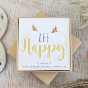 Yellow Gold Vermeil Quote Earrings - 'Bee Happy'
