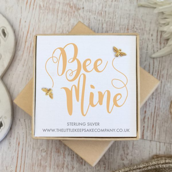 Yellow Gold Vermeil Quote Earrings - 'Bee Mine'