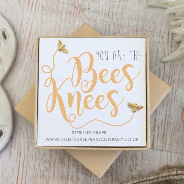 Yellow Gold Vermeil Quote Earrings - 'You Are The Bees Knees'