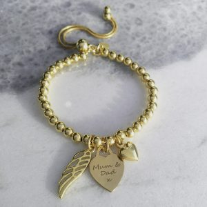 Yellow Gold Vermeil Engraved Memorial Bracelet
