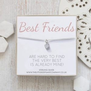 Sterling Silver Curb Chain Heart Bracelet - 'Best Friends Are Hard To Find'