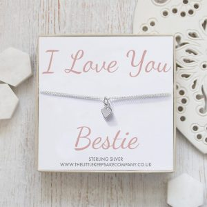 Sterling Silver Curb Chain Heart Bracelet - 'I Love You Bestie'