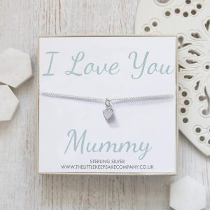 Sterling Silver Curb Chain Heart Bracelet - 'I Love You Mummy'