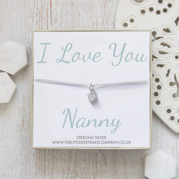 Sterling Silver Curb Chain Heart Bracelet - 'I Love You Nanny'