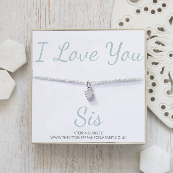 Sterling Silver Curb Chain Heart Bracelet - 'I Love You Sis'
