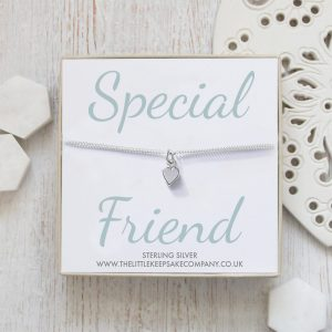 Sterling Silver Curb Chain Heart Bracelet - 'Special Friend'