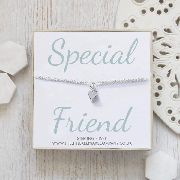 Sterling Silver Curb Chain Heart Bracelet - 'Special Friend'