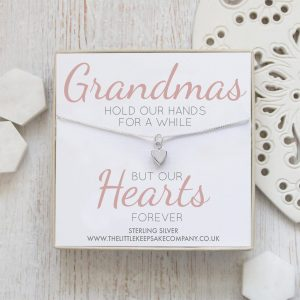 Sterling Silver Quote Necklace - 'Grandmas Hold Our Hands'