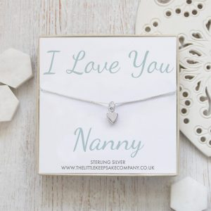 Sterling Silver Quote Necklace - 'I Love You Nanny'