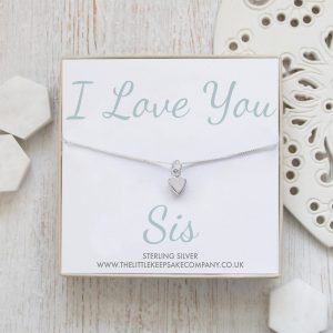 Sterling Silver Quote Necklace - 'I Love You Sis'