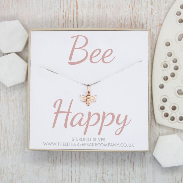 Sterling Silver & Rose Gold Vermeil Quote Necklace - 'Bee Happy'
