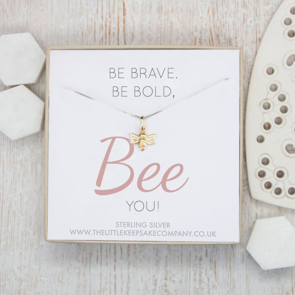 Sterling Silver & Yellow Gold Vermeil Quote Necklace - 'Be Brave, Be Bold, Bee You!'