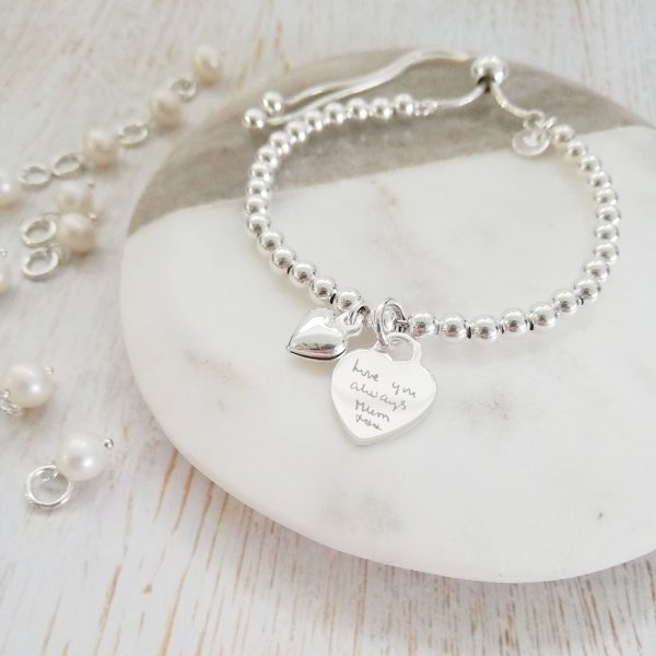Sterling Silver Ball Slider Bracelet - With Silver Handwriting Heart Charm