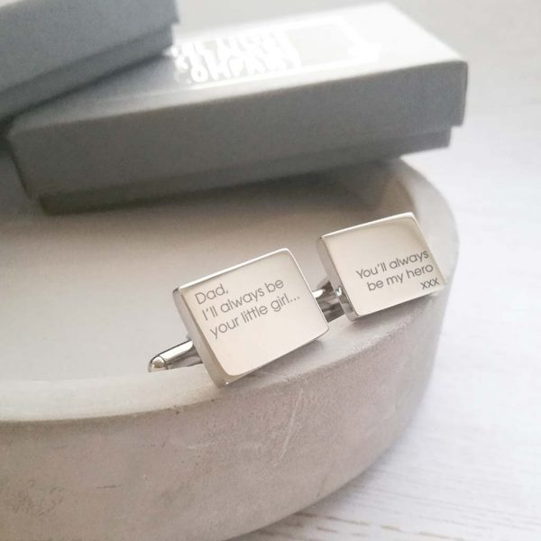 Stainless Steel Engraved Rectangle Cufflinks 'You'll Always Be My Hero'