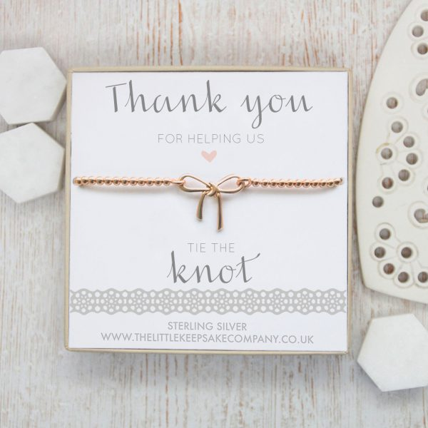 Rose Gold Vermeil Bow Bracelet - 'Thank You For Helping Us Tie The Knot'