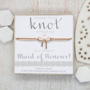 Rose Gold Vermeil Bow Bracelet - 'I Couldn't Tie The Knot Without You, Will You Be My Maid Of Honour?'