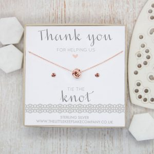 Rose Gold Vermeil Knot Gift Set - 'Thank You For Helping Us Tie The Knot'