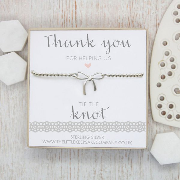 Sterling Silver Bow Bracelet - 'Thank You For Helping Us Tie The Knot'