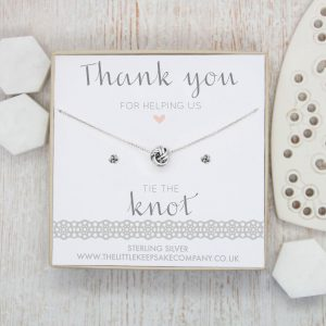 Sterling Silver Knot Gift Set - 'Thank You For Helping Us Tie The Knot'
