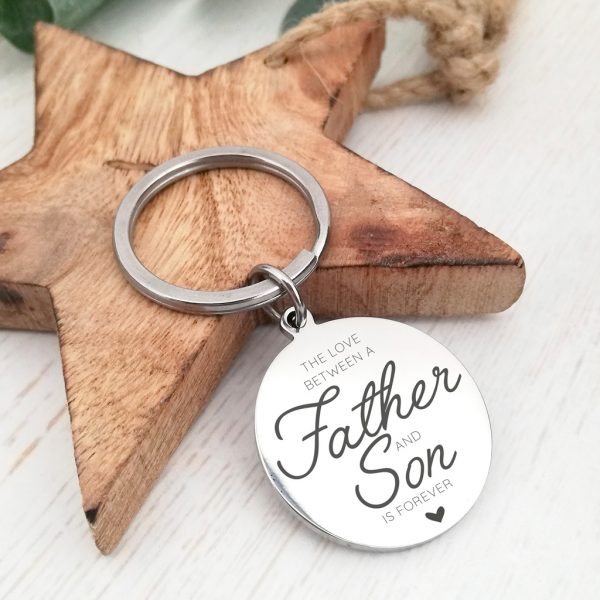 Stainless Steel Engraved Circle Keyring 'The Love Between...'