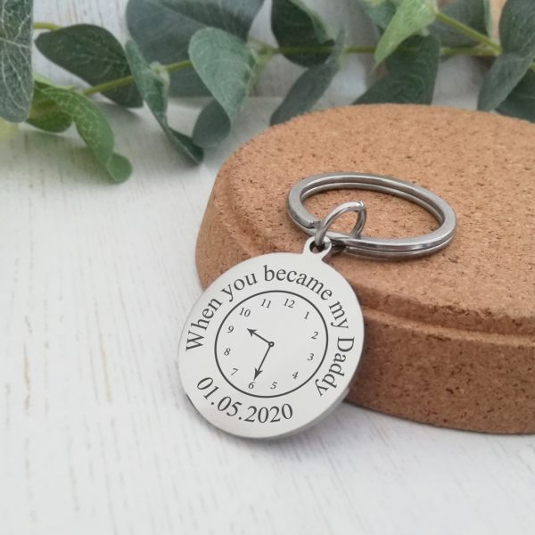 Stainless Steel Engraved Circle Keyring 'A Moment In Time'