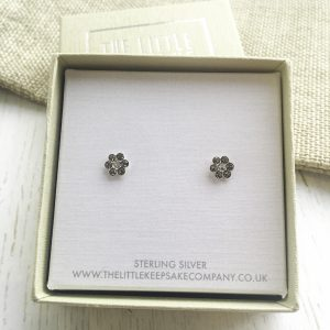 Sterling Silver & CZ Daisy Earrings