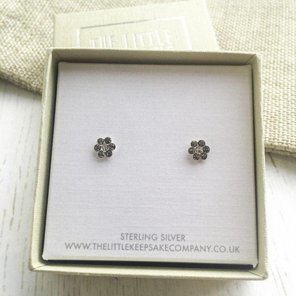 Sterling Silver & CZ Daisy Earrings
