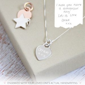 Sterling Silver Handwriting Mini Heart Necklace