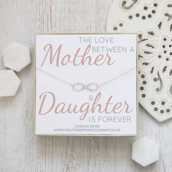 Sterling Silver Quote Necklace - 'The Love Between A Mother & Daughter Is Forever'